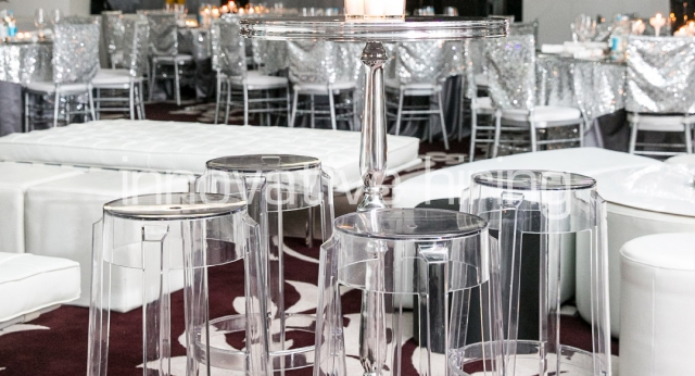 Features: New York Bar Table with Charles Ghost Bar Stools