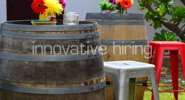 Features: Wine Barrel Bar Table with Tolix Bar Stools