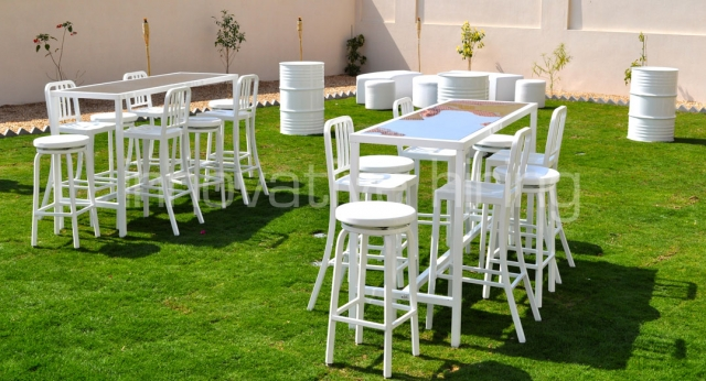 Features: Rectangular Bench Bars, Marine & Navy Bar Stools