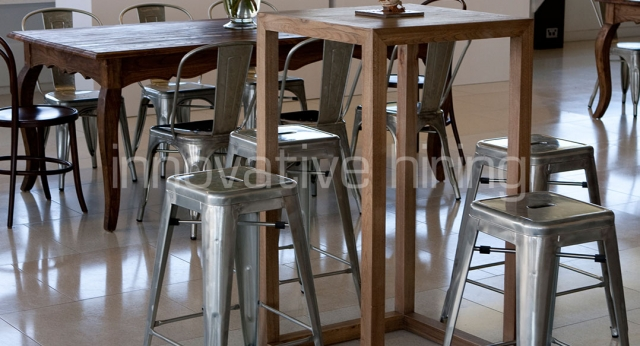 Features: Provincial Bar Tables with Tolix Stools