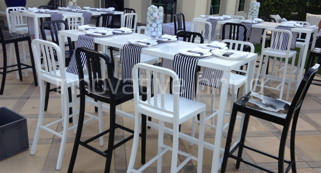 Features: Navy Bar Stools & Bench Bars