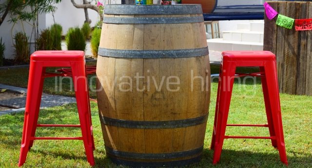 Features: Tolix Bar Stools & Wine Barrel Bar Table