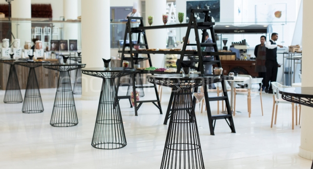 Features: Wireworx Bar Tables & Industrial Scaffold Shelving