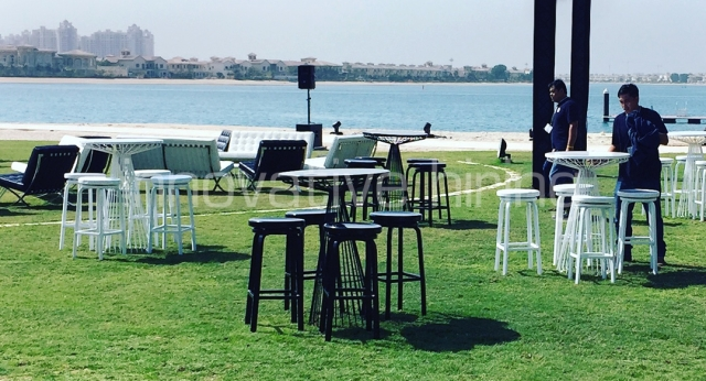 WireWorx Bar Tables with Marine Stools & Barcelona Lounge Seating