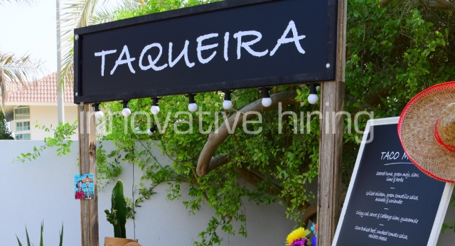 Features: Rustic Taco Stand & Display Easel with Blackboard