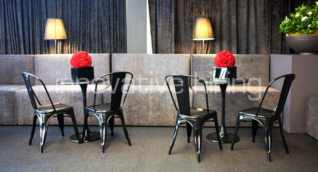 Features: Forbes Booth Lounges & Tulip Cafe Tables with Tolix Chairs