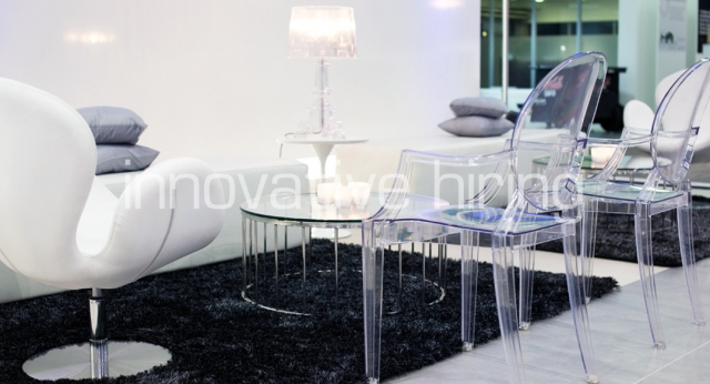 Features: Swan & Louis Ghost Chairs