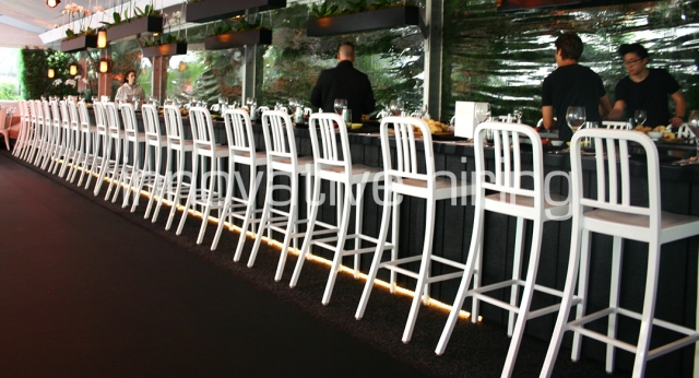 Features: Navy Bar Stools