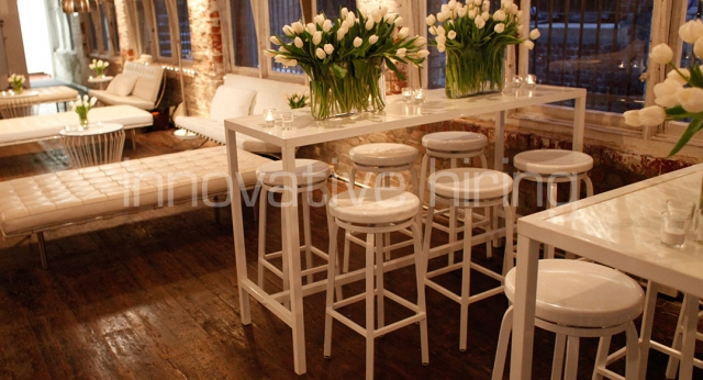 Features: Marine Stools with Bench Bars and Barcelona Ottomans