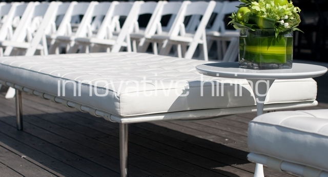 Features: Barcelona Ottoman with Padded Folding Chairs